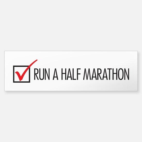 Run a Half Marathon Check Box Sticker (Bumper)