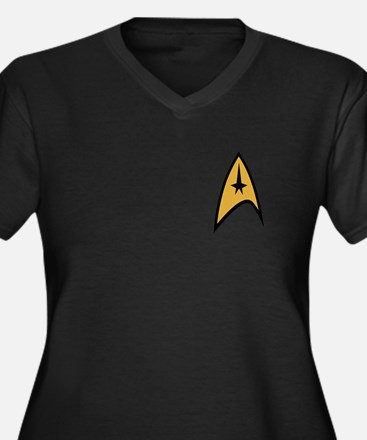 Star Trek Women's Plus Size V-Neck Dark T-Shirt