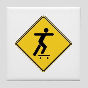Warning : Skateboarder Tile Coaster