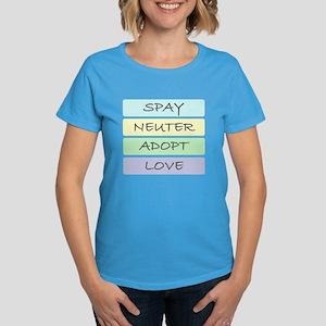 Spay Neuter Adopt Love Women's Dark T-Shirt