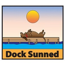 Dock Sunned Dachsund Poster