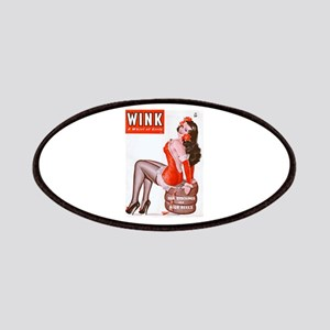 Wink Vintage Brunette Pin Up in Red Patches