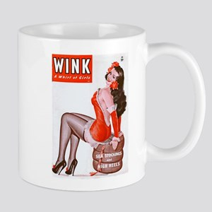 Wink Vintage Brunette Pin Up in Red Mug
