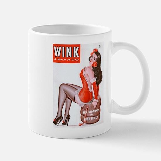 Wink Vintage Brunette Pin Up in Red Mug