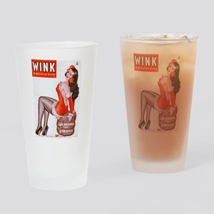 Wink Vintage Brunette Pin Up in Red Drinking Glass