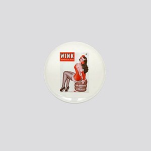 Wink Vintage Brunette Pin Up in Red Mini Button