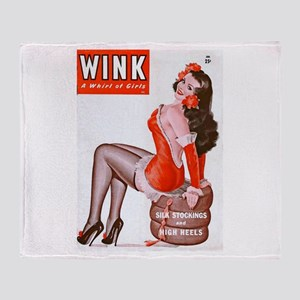 Wink Vintage Brunette Pin Up in Red Stadium Blank