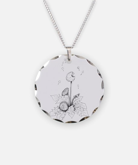 Dandelion drawing Necklace