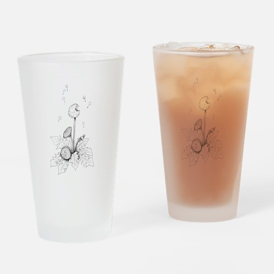 Dandelion drawing Drinking Glass