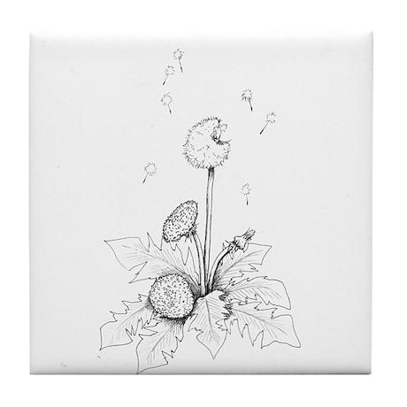 Dandelion drawing Tile Coaster