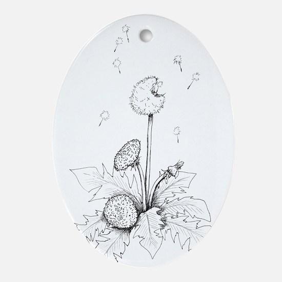 Dandelion drawing Ornament (Oval)