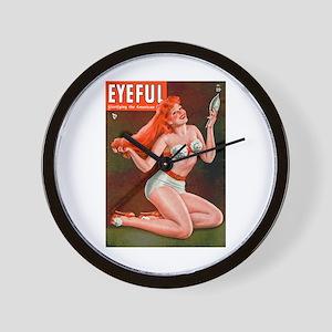 Eyeful Vintage Redhead Pin Up Girl Wall Clock