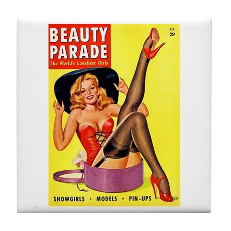 Beauty Parade Pinup with New Hat Tile Coaster
