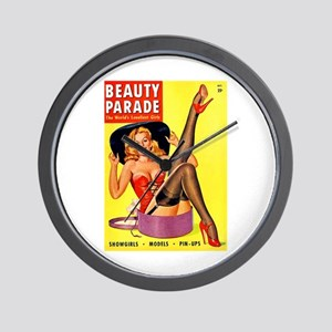 Beauty Parade Pinup with New Hat Wall Clock