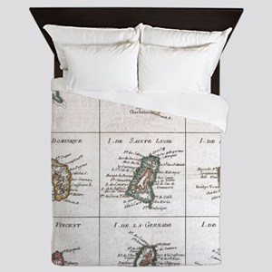 Vintage Islands of The Caribbean Map ( Queen Duvet