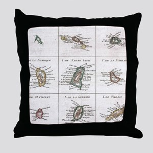 Vintage Islands of The Caribbean Map Throw Pillow