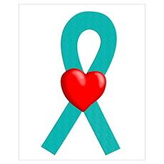 Teal Ribbon Heart Poster