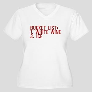 Bucket List White Wine Ice Women's Plus Size V-Nec