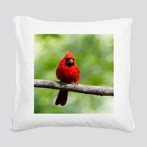 Red Cardinal Square Canvas Pillow