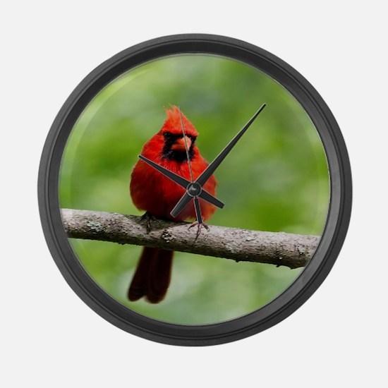 Red Cardinal Large Wall Clock