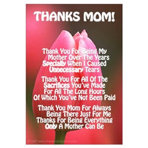 Thanks mom mothers day beautiful poems gifts cafepress altavistaventures Images