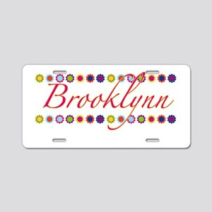 Brooklynn with Flowers Aluminum License Plate