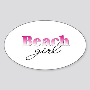 Beach girl Oval Sticker