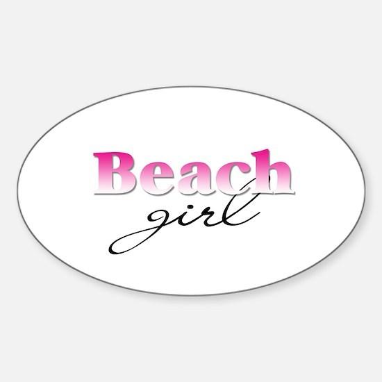 Beach girl Oval Decal