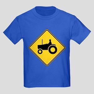 Warning : Tractor Kids Dark T-Shirt