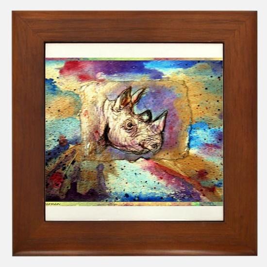 Wildlife, rhino, art, Framed Tile
