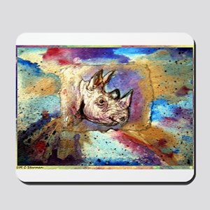 Wildlife, rhino, art, Mousepad