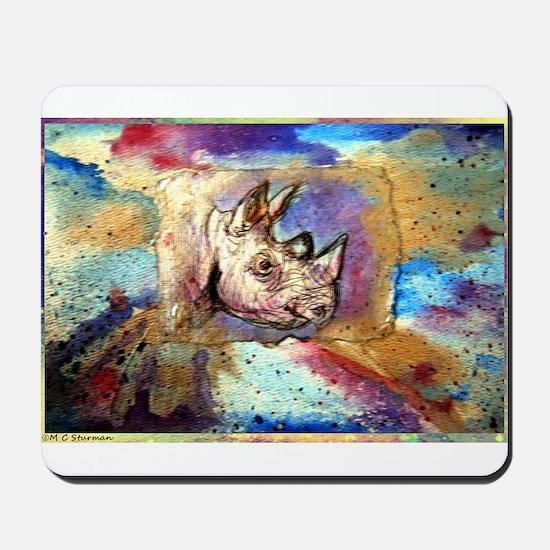 Wildlife, rhino, art, Mousepad