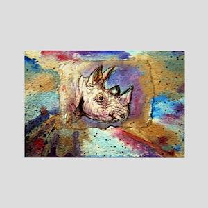 Wildlife, rhino, art, Rectangle Magnet