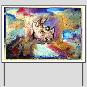 Wildlife, rhino, art, Yard Sign