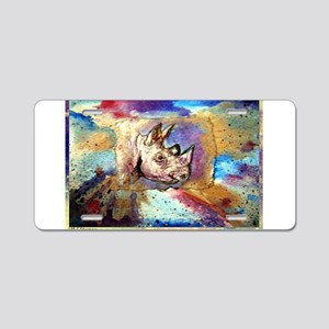Wildlife, rhino, art, Aluminum License Plate