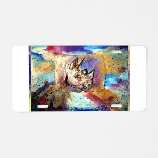 Wildlife, rhino, art, Aluminum License Plate