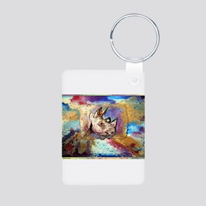 Wildlife, rhino, art, Aluminum Photo Keychain