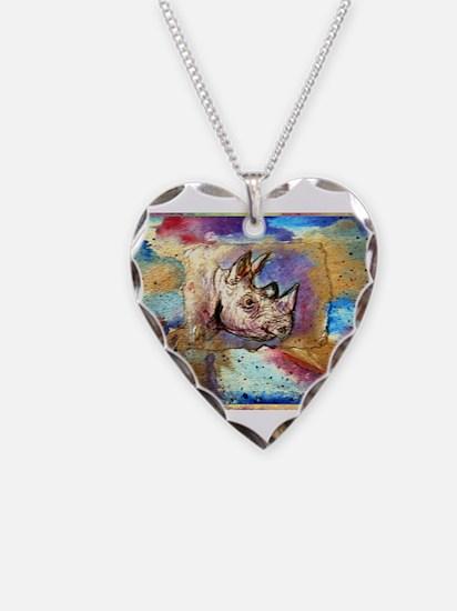 Wildlife, rhino, art, Necklace