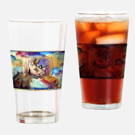 Wildlife, rhino, art, Drinking Glass