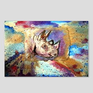 Wildlife, rhino, art, Postcards (Package of 8)