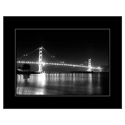 Golden Gate Night B&W 18x24 Poster