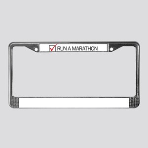 Run a Marathon Check Box License Plate Frame
