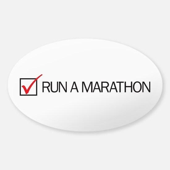 Run a Marathon Check Box Sticker (Oval)