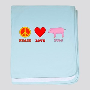 Peace Love Pigs baby blanket