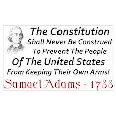 """""""Samuel Adams: Keep Your Arms"""" Poster"""