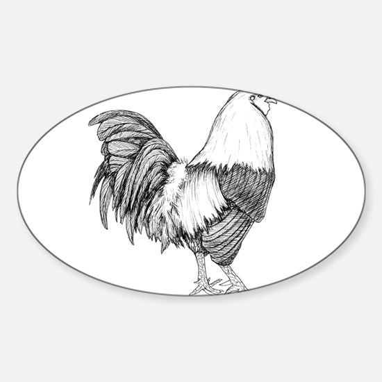 Rooster Drawing Sticker (Oval)