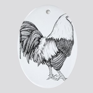 Rooster Drawing Ornament (Oval)