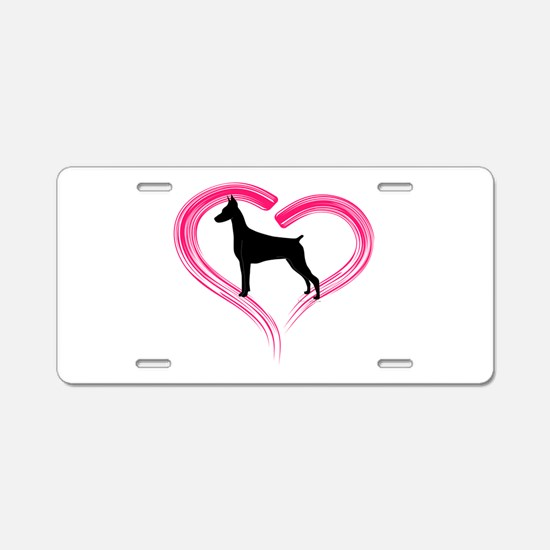 Heart My Doberman Aluminum License Plate