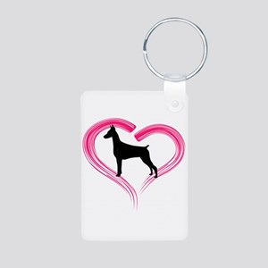 Heart My Doberman Aluminum Photo Keychain