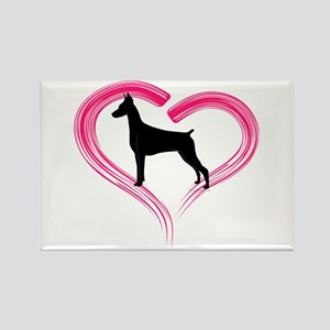 Heart My Doberman Rectangle Magnet